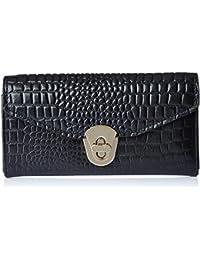 Aquatan Women's Diva Croco Leather Wallet Black AT-W-49A
