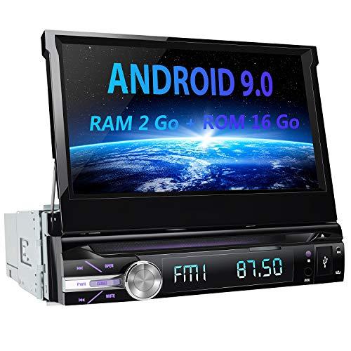AWESAFE Android 9.0 Autoradio 1 DIN GPS Ecran Tactile numérique 7 Pouces Navigation de Voiture supporte Bluetooth WiFi USB SD Commande au Volant Radio RDS