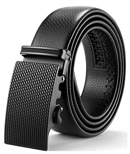 ITIEZY Herren Gürtel Ratsche Automatik Gürtel für Männer 35mm Breit Ledergürtel, Schwarz 108, Länge: Bis zu 49,21 Inches (125cm)