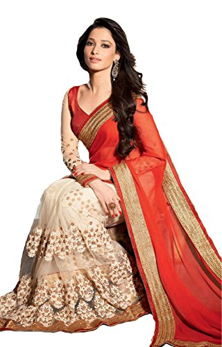 V-Art Georgette Saree (Satamanaorg_Orange)