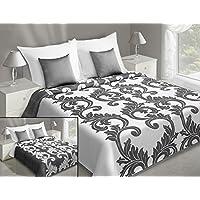 Tagesdecke Bettüberwurf Decke mit Ornamenten in lila silber