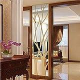 Autocollant Mural 3D Moderne Miroir Style S Amovible Sticker Art Mural Autocollant pour Salon TV Fond Maison Décoration De La Chambre 100X28CM