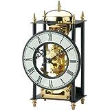 Tischuhr - AMS Metall schwarz golden mechanisch mit Schlagwerk vintage antik