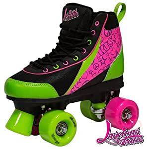 Luscious Retro quadruple Rouleau Patins, - Black/Green/Pink