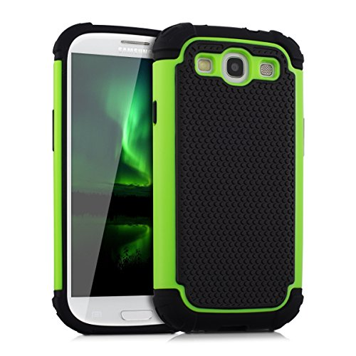 kwmobile Funda para Samsung Galaxy S3 / S3 Neo - Case híbrida de TPU silicona - Hard Cover en verde neón negro