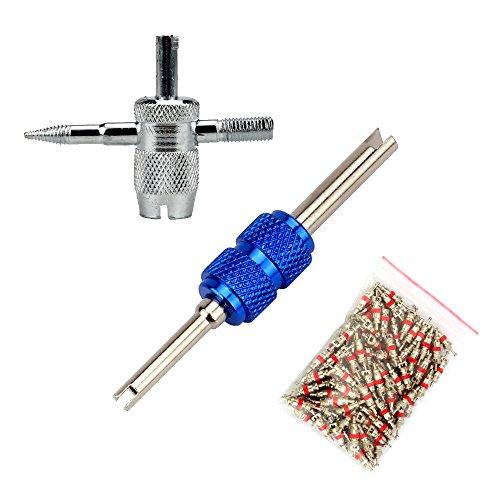 SENZEAL 2 x Ventil Werkzeug Stahlwelle Doppelkopf Reifen ventileinsatz Reparatur-Werkzeuge mit 20x Ventilkerne (4 in 1-style2)