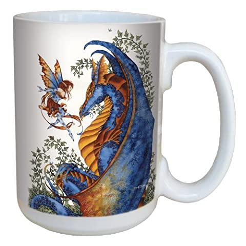 Tree-Free Greetings lm43544 15 oz Fantasy Curiosity Dragon and Fairy Ceramic Mug with Full Sized