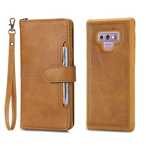 Artfeel Brieftasche Handyhülle für Samsung Galaxy Note 9,Abnehmbare 2 in 1 Magnetisch Hülle mit Kartenfächer,Retro Leder Flip Bookstyle Hülle mit Ständer Handschlaufe Stoßfest Schutzhülle,Braun