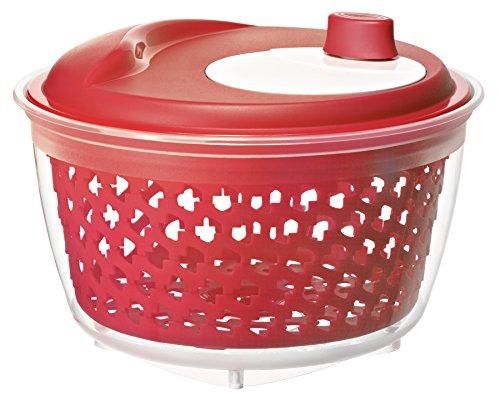 Rotho 1722402039 Salatschleuder Fresh mit Kurbel, leichtgängig mit Antirutsch-Füssen, BPA-frei, Inhalt 4,5 L, circa 25 x 25 x 16,5 cm, transparent/rot