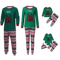 PLOT❤Family Matching Christmas Pajamas Set Sleepwear Blouse Pants Kids Outfits Clothes