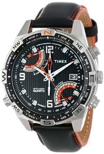 Timex Homme T49867 entelligent Quartz Fly Back Chrono Compass Noir Montre Cuir Bracelet