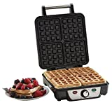 Koolle Electric 4 Slice Belgian Waffle Maker with Adjustable Temperature Control, 1100 Watts. Stainless steel | 2 Year Warranty