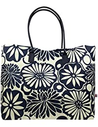 Tropical Fantasy Navy Blue Woven Floral Tote Bag