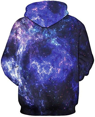 FLYCHEN Unisex 3D Druck Kapuzenpullover Sweatshirt Pullover mit Kapuze Große Tasche Hoodie Sweatjacke Blau Galaxy