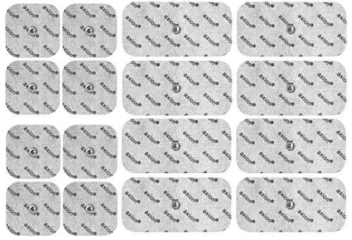 16 Electrodos para BEURER VITALCONTROL - Parches TENS EMS (8 * 50x50mm + 8 * 100x50mm) - Almohadillas para electroestimuladores - Calidad axion