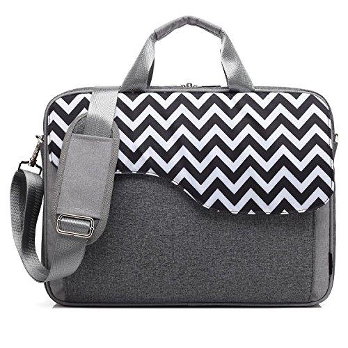CoolBELL 17,3 Zoll Laptop Tasche Nylon Schultertasche mehrfach Abteil Messenger Bag Handtasche Tablet Aktentasche für Laptop / Tablet / Macbook,Grau-Welle