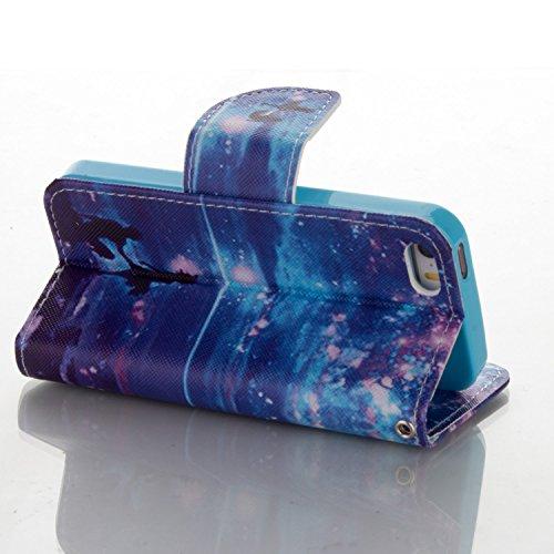 iPhone SE Hülle,iPhone 5S Hülle,iPhone 5 Hülle,ikasus® Handyhülle iPhone 5S / iPhone 5 / iPhone SE Ledercase Tasche Hüllen Brieftasche Bunte Gemalt Malerei Muster PU Lederhülle Schutzhülle Handyhülle  Blaue Galaxie Liebhaber