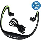 Captcha Wireless Bluetooth BS19C In-ear Sports Headset, MP3 Jogging Player With Micro Sd Card Slot And FM Radio Suitable With All Android Or Iphone Devices (1 Year Warranty, Color May Vary)