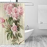 jstel Vintage Rose Polyester-Duschvorhang Schimmel resistent und wasserfest-182,9x 182,9cm für Home Extra Lang Badezimmer Deko Dusche Bad Vorhänge Liner mit 12Haken