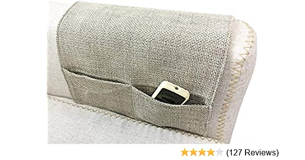 JINTN Cotton Linen Cloth Sofa Couch Chair Armrest Organizer Non-Slip Space Saver Caddy Holder for TV Arm Rest Remote Control Holder Pocket Organizer Cell Phones Books Magazines Sofas Armchairs
