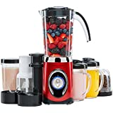 Andrew James 4 in 1 Smoothie Maker, 1.5L Blender, Grinder And Juicer with 2x 600ml Drinks Cups - 2 Year Warranty (Red)