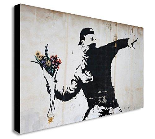 FAB Banksy-Flower Thrower-Graffiti Leinwand gerahmt Wall Art-verschiedene Größen, schwarz/weiß, A0 47x33 inch -