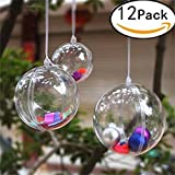 Plastic Fillable Baubles Candy Cane Christmas Decorations Transparent Clear Baubles to Fill, Xmas Ceiling Tree Decorations Sale Ornaments for Kids DIY Balls Toys Games by Guizen. ( 6cm, Pack of 12)