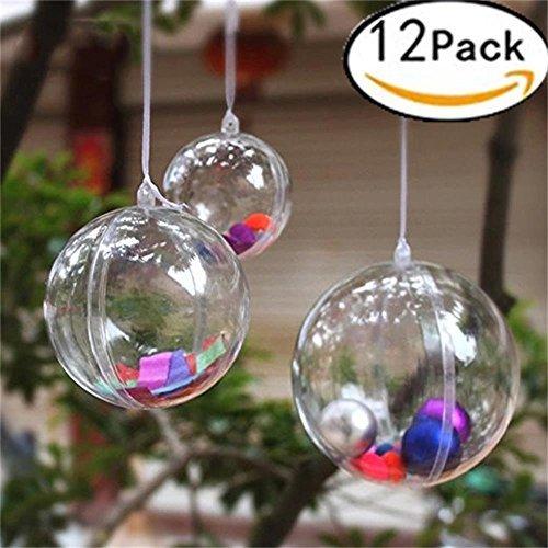 Palline trasparenti plastica fillable per addobbi festa, caramelle per matrimonio, decorazioni albero palle trasparente aperte, sfera da riempire da appendere apribili. (6 cm, confezione da 12)