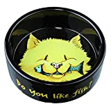 Trixie Keramiknapf, Katze, Do you like Fish, 0,3 l/ø 12 cm, schwarz
