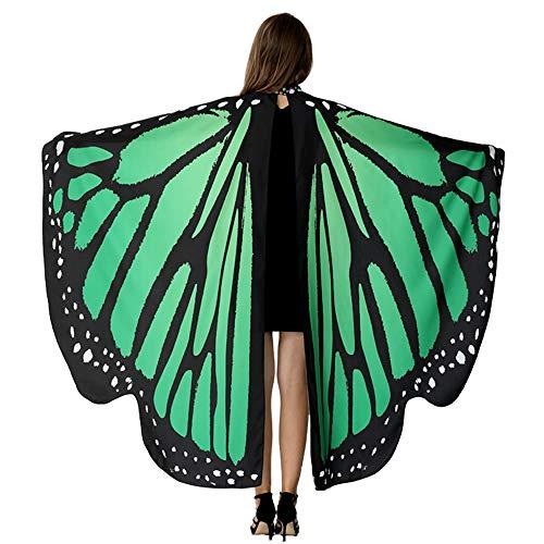 flügel für Frauen, Schmetterlingsschal, Fee, Damen, Umhang Nymphe, Pixie, Kostüm-Accessoire - Grün - Einheitsgröße Passen Alle ()