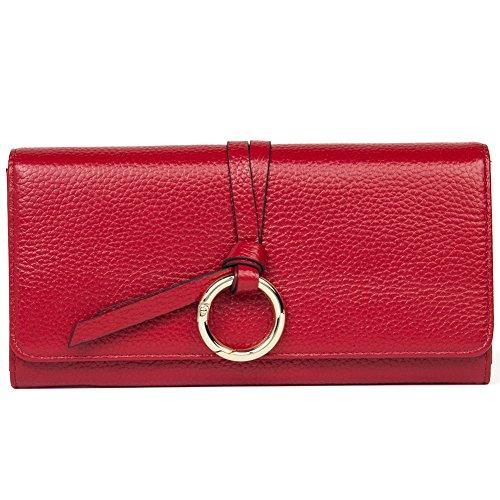 BOSTANTEN Portefueille femme cuir porte-monnaie sacs portés main porte-carte fille rouge vineux