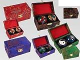 Chinesische Qi Gong-Kugeln ,ca. 4 cm, 2er Set in Geschenkbox , 5-fach sortiert,Farbe / Muster nicht frei wählbar