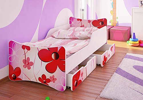 Best For Kids Kinderbett mit Schaummatratze TÜV Zertifiziert MIT Zwei SCHUBLADEN 90x200