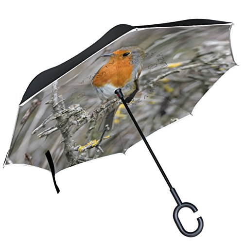 ALAZA Robin Vogel im AST Realtree seitenverkehrt Regenschirm Double Layer Winddicht Rückseite Regenschirm -