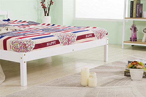 YAKOE Solid Pine Frame with Slats Bed Furniture, White, Double