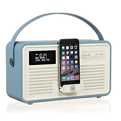 VQ Retro Mk II DAB & DAB+ Digital Radio with FM, Bluetooth, Apple Lightning Dock & Alarm Clock – Blue