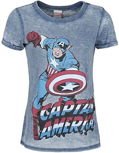 Captain America Burnout Washed Maglia donna blu XL