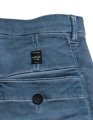 Replay Men's Men's Light-Blue Casual Trousers Cotton Light Blue