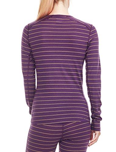 Icebreaker–Maglietta da donna Oasis, a maniche lunghe, girocollo, strato base Eggplant/Sulfur/Stripe