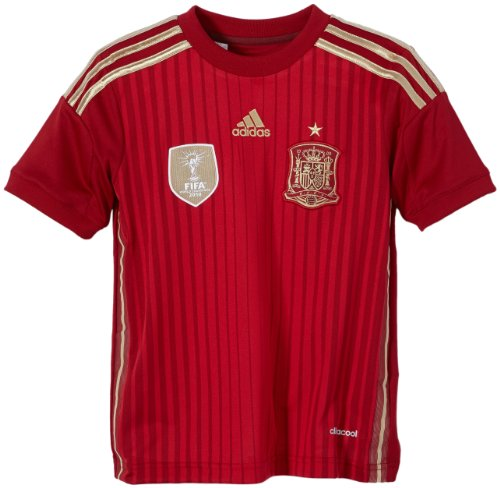 adidas Kinder Kurzärmliges Trikot FEF Spain Home Jersey, Victory Red/Light Football Gold/University Red, 128, G85231