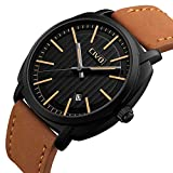 CIVO Herren Uhren Luxus Echtes Lederband Wasserdicht Datum Kalender Business Casual Armbanduhr Einfaches Design Mode Analogue Quarz Herrenuhr Schwarzes Zifferblatt (Braun)