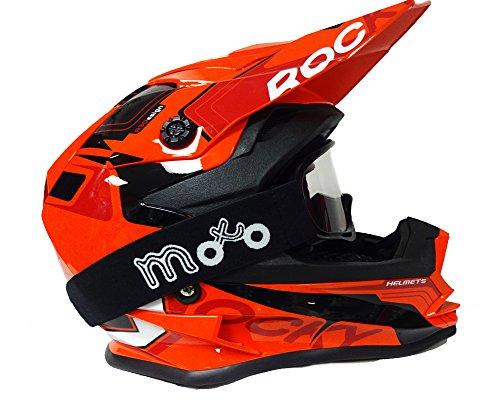 Kinder Motocross Helm 3GO xk-188Rocky Kinder Motorrad Race Quad Bike Off Road Junior MX Helm, Orange + X1schwarz Brillen - M