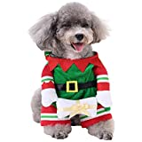 Wiwsi Small Pet Clothes Party Dog Hoodie Jacket Coat Puppy Cat Fancy Costume Hot(L,Christmas Elf)