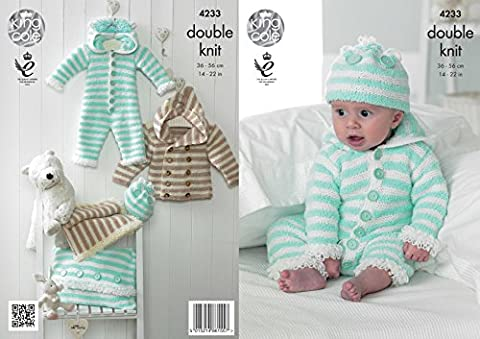 King Cole Cuddles DK Double Knitting Pattern Baby Clothes Set - Onesie Coat Hat & Blanket (4233)