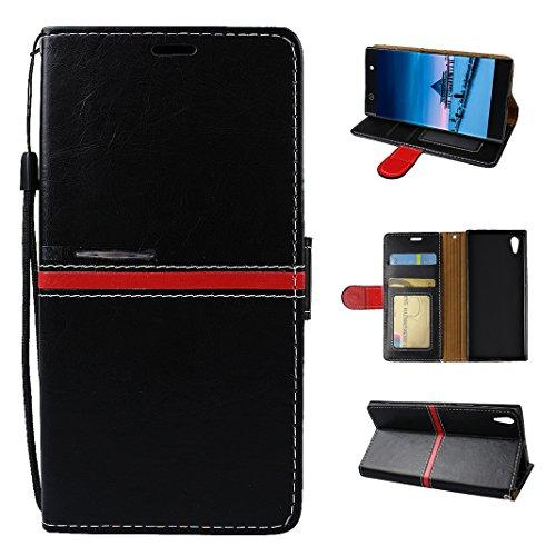 Preisvergleich Produktbild Xperia XA1 Ultra Tasche, Asnlove Hülle Brieftasche Schutzhülle Flip Case Wallet Case Handy Schutzhülle Pure, Handycover Klapphülle mit Kartenfach und Ständer für Sony Xperia XA1 Ultra Schwarz