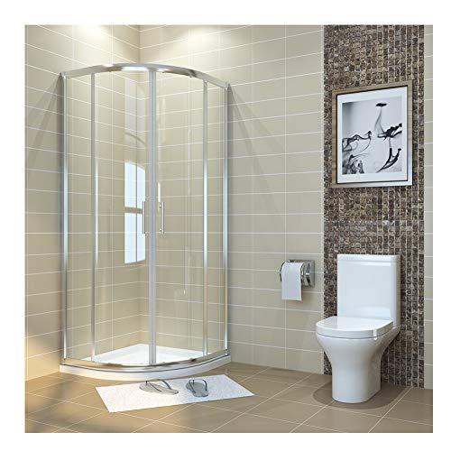 Duschkabine viertelkreis 90x90cm Runddusche Duschabtrennung Schiebetür Viertelkreisdusche für Badezimmer (Duschkabine Schiebetür)