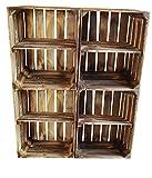 BLUMENKÜBELXXL AB SOFORT: ZWISCHENBÖDEN VERSCHRAUBT Massive geflammte Kiste ALS Schuh- und Bücherregal +++ Obstkiste mit Zwischenbrett +++ Einzeln / 2er Set (Geflammt Quer 4er Set)