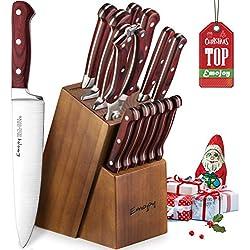 Emojoy Bloc de Couteaux, 15 Pièces Set Couteaux de Cuisine, Ensemble de Couteaux Professionnels, Couteaux de Chef avec Bloc en Bois, Allemand Acier Inoxydable, Support en Bois pour la Cuisine