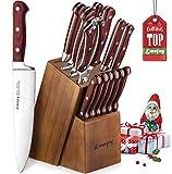 Emojoy Messerblock, 15-TLG Messerset mit Holzgriff, Kochmesser Set aus rostfreiem Edelstahl, Küchenmesser Profi Messer mit Wetzstahl, braun