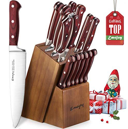 emojoy set coltelli, 15 pezzi ceppo coltelli in legno, set coltelli cucina, set di coltelli da cucina professionale con acciaio tedesco (marrone)